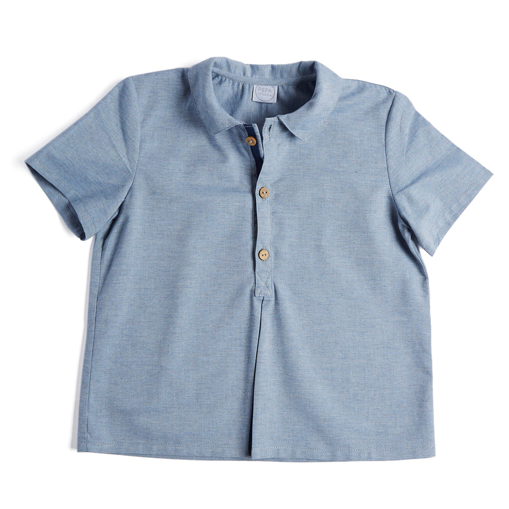 Navy Polo Cotton Shirt - Shirt - PEPA AND CO