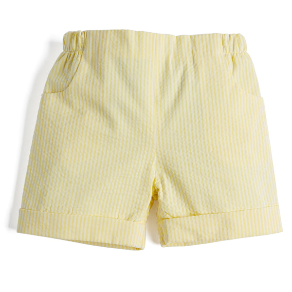 Yellow Striped Baby Boy Cotton Shorts - Shorts - PEPA AND CO