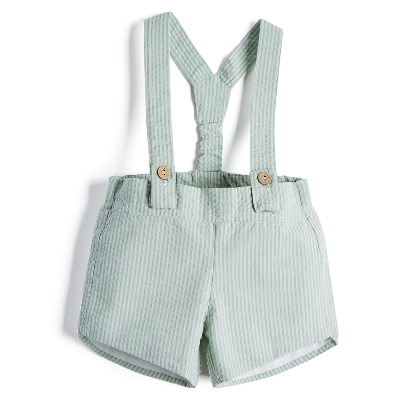 Green Striped Baby Boy Cotton Shorts with Braces - Shorts - PEPA AND CO
