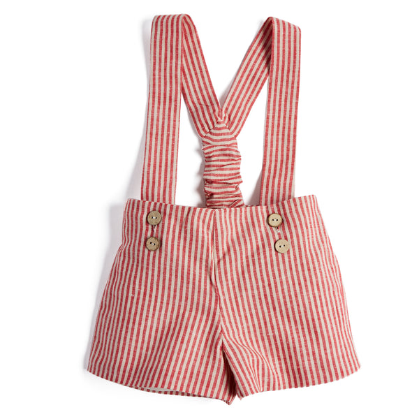 Red Striped Baby Boy Linen Shorts with Braces - Shorts - PEPA AND CO