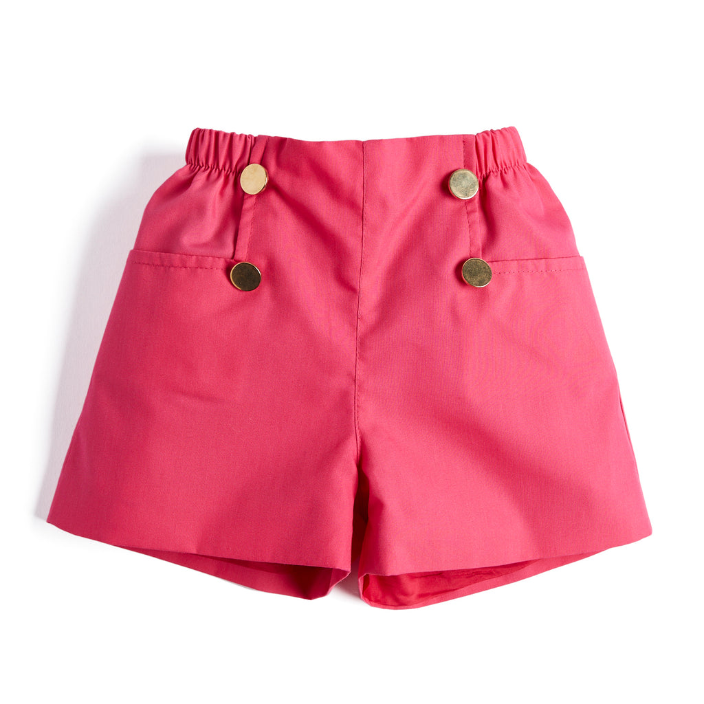 Tailored Pink Shorts with Gold Buttons - Shorts - PEPA AND CO