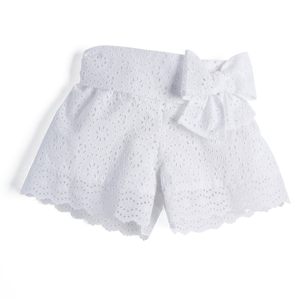 White Openwork Cotton Shorts with Bow - Shorts - PEPA AND CO