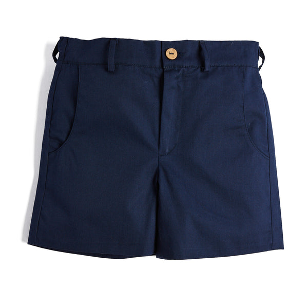 Boy's Navy Cotton Shorts - Shorts - PEPA AND CO