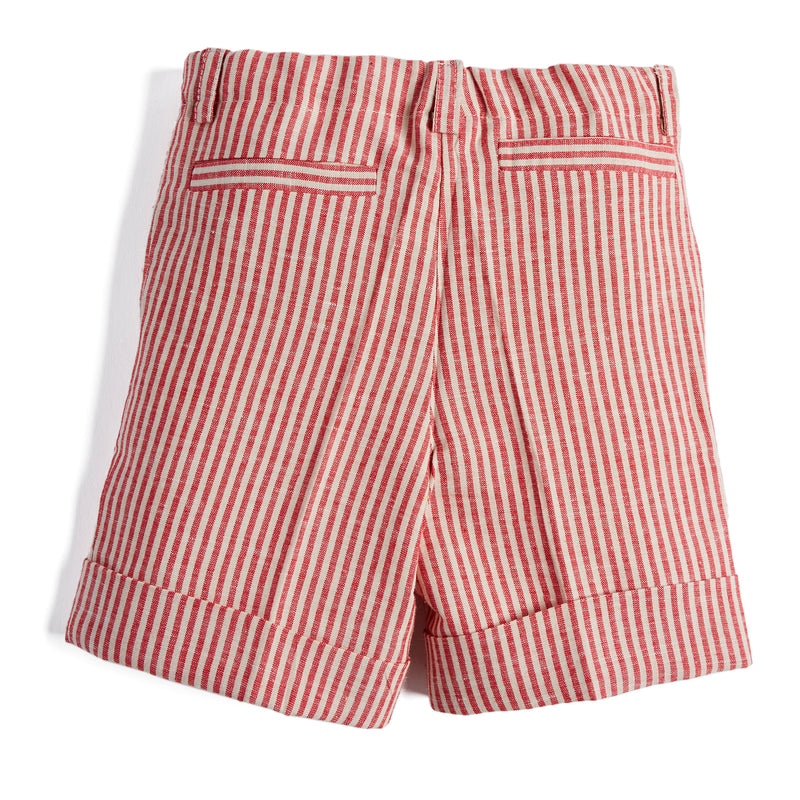 Red Striped Linen Shorts - Shorts - PEPA AND CO
