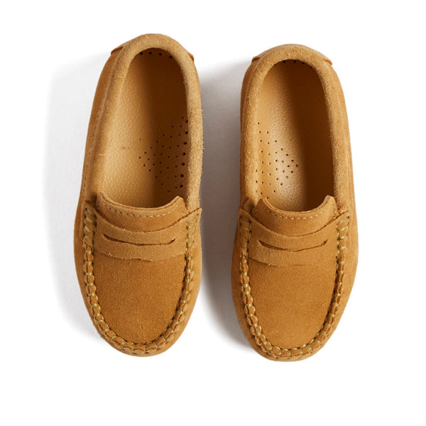Camel Brown Suede Loafers - Shoes - PEPA AND CO