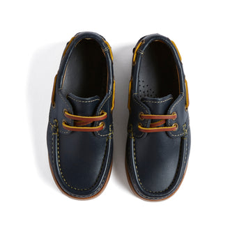 Leather Navy Boat Shoes - SHOES - PEPA AND CO