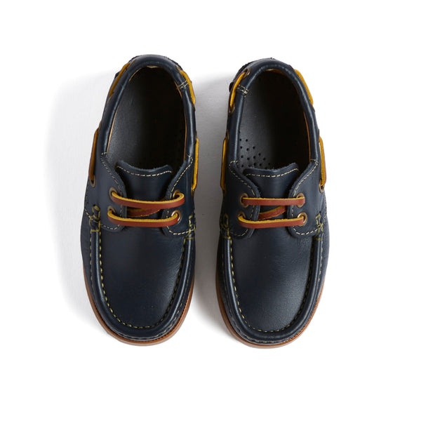Navy Leather Boat Shoes - Shoes - PEPA AND CO