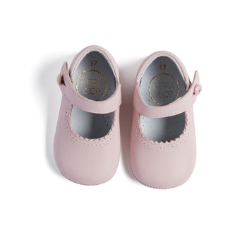 Mary Jane Pink Leather Pram Shoes - Shoes - PEPA AND CO