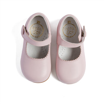 Mary Jane Pink Leather Baby Shoes - Shoes - PEPA AND CO