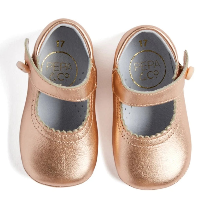 Metallic Pink Leather Mary Jane Pram Shoes - Shoes - PEPA AND CO