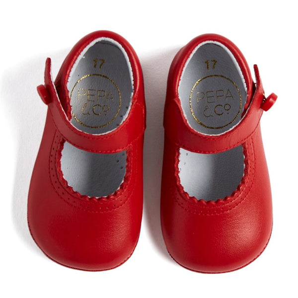 Red Leather Mary Jane Pram Shoes - Shoes - PEPA AND CO