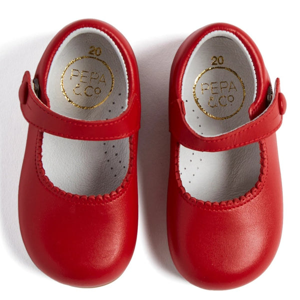 Red Leather Mary Jane Baby Shoes - Shoes - PEPA AND CO