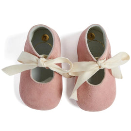 Pink Mary Jane Pram Shoes with Cotton Ribbon - Shoes - PEPA AND CO
