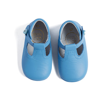 T-Bar Pale Blue Leather Pram Shoes - Shoes - PEPA AND CO