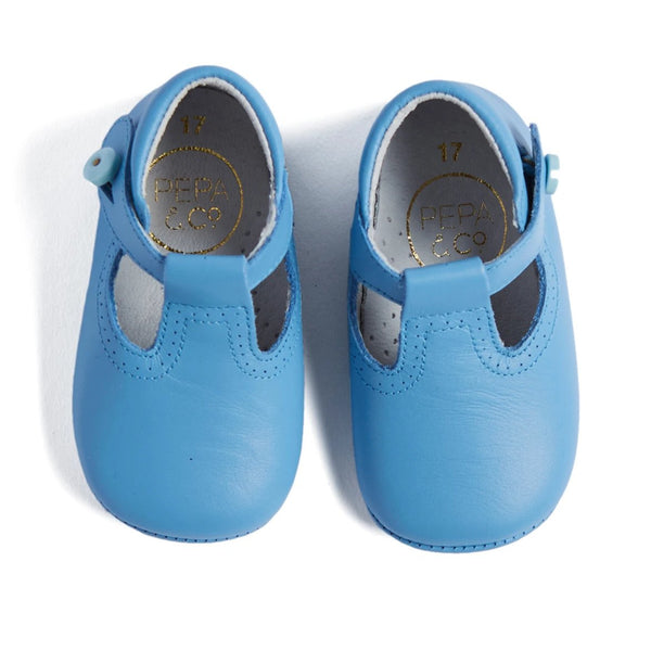 Light Blue T-Bar Pram Shoes - Shoes - PEPA AND CO