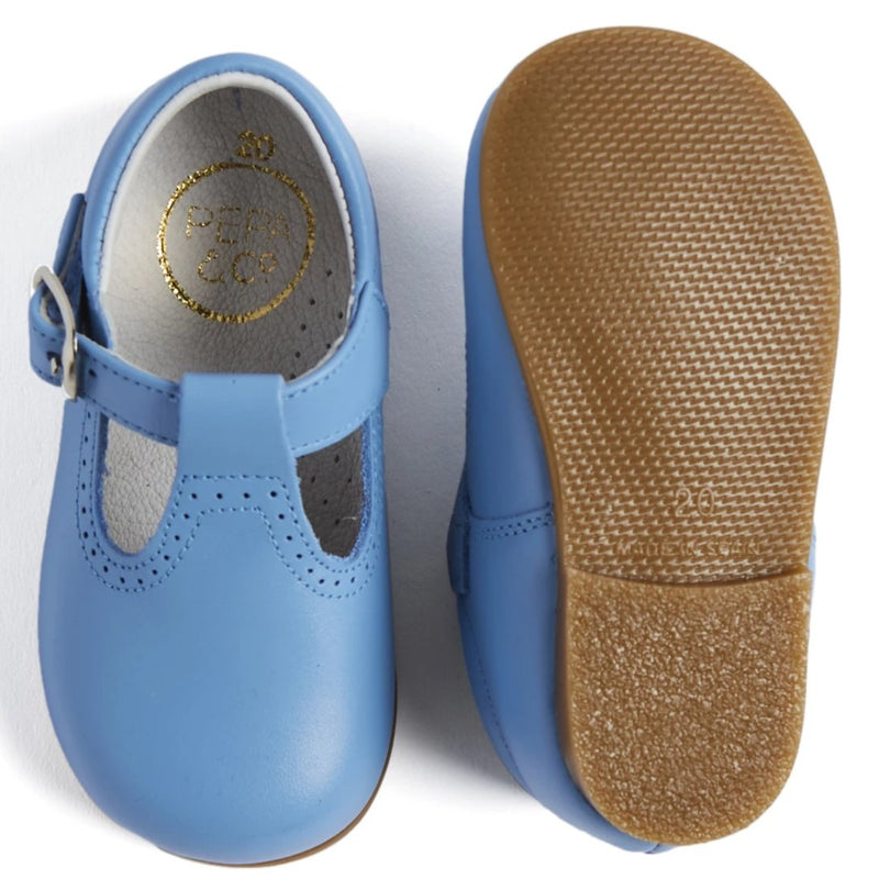Light Blue Leather T-Bar Baby Shoes - Shoes - PEPA AND CO
