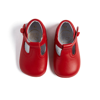 Leather Red T-Bar Pram Shoes - PRAM T-BAR - PEPA AND CO