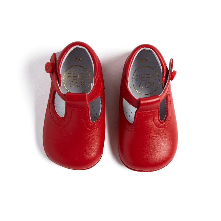 Leather Red T-Bar Pram Shoes - SHOES - PEPA AND CO