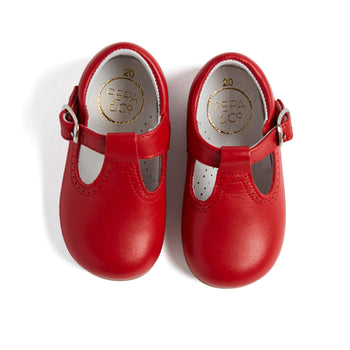 T-Bar Red Leather Baby Shoes - T-BAR - PEPA AND CO