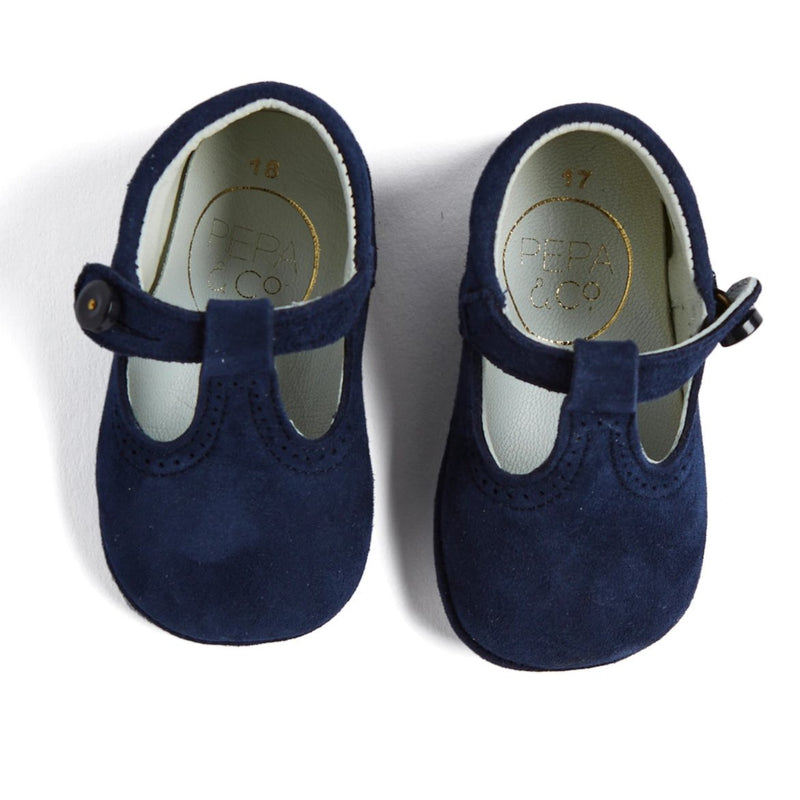 Navy Suede T-Bar Pram Shoes - Shoes - PEPA AND CO