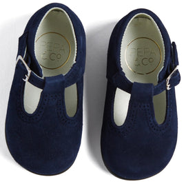 Navy Suede T-Bar Baby Shoes - Shoes - PEPA AND CO