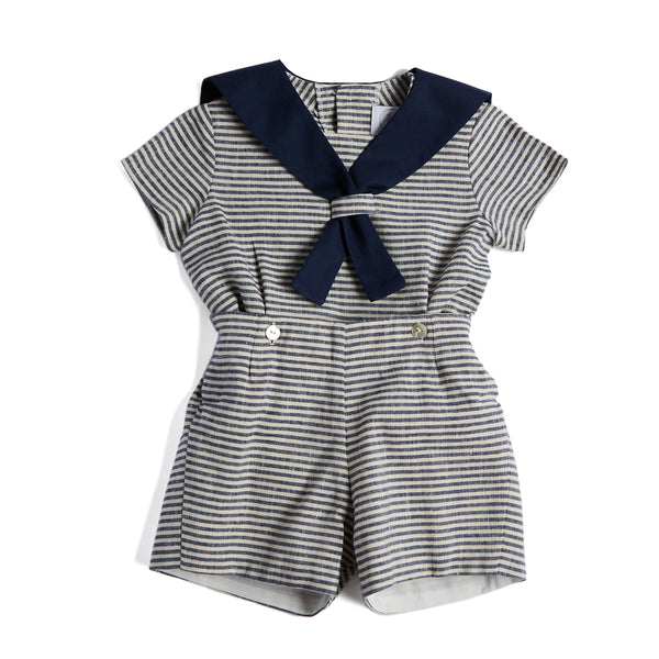 Navy Striped Linen Mariner Set - Set - PEPA AND CO