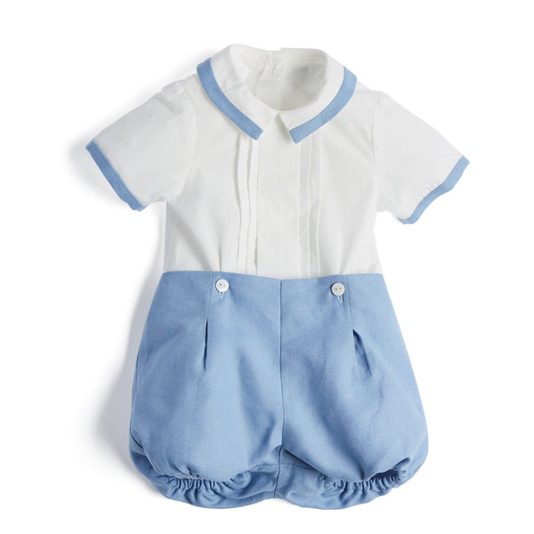 White & Blue Baby Boy Cotton Linen Set - Set - PEPA AND CO