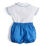 White & Blue Handsmocked Cotton Shorts Set - Set - PEPA AND CO
