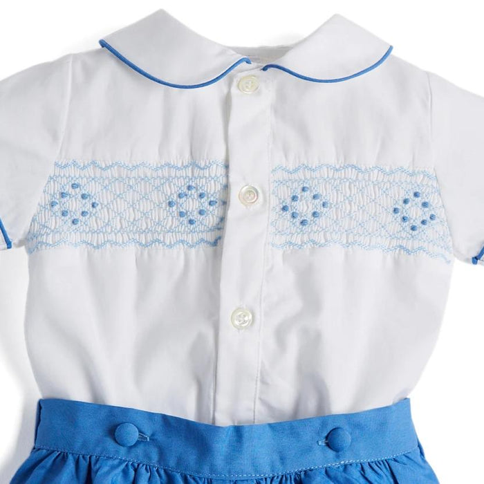 White & Blue Handsmocked Cotton Shorts Set - TWO PIECE SET - PEPA AND CO
