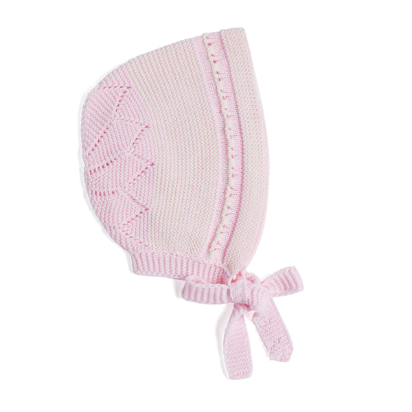 Delicate Pink Cotton Knit Bonnet - Bonnet - PEPA AND CO