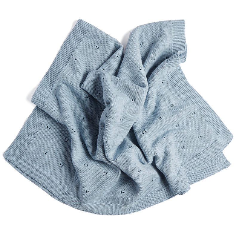 Blue Cotton Baby Blanket - Blanket - PEPA AND CO