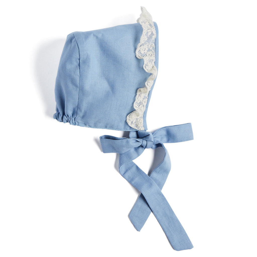 Romantic Blue Linen Bonnet - Bonnet - PEPA AND CO
