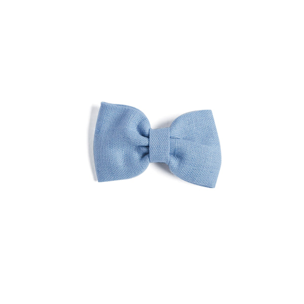 Blue Linen Small Bow Clip - Hair Accessories - PEPA AND CO