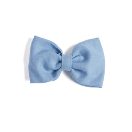 Blue Linen Big Bow Clip - Hair Accessories - PEPA AND CO