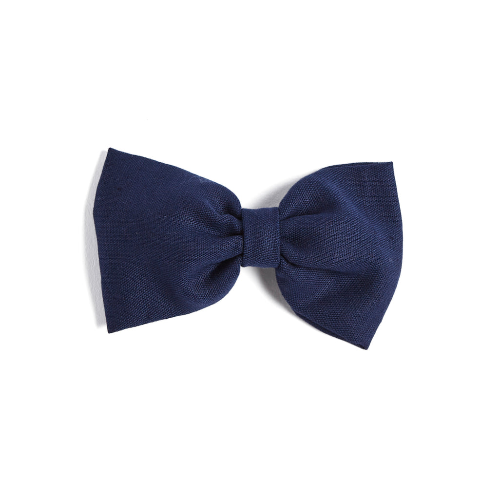 Navy Linen Big Bow Clip - Hair Accessories - PEPA AND CO