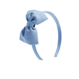 Blue Linen Big Bow Hairband - Hair Accessories - PEPA AND CO