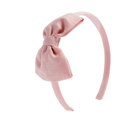 Pink Linen Big Bow Hairband - Hair Accessories - PEPA AND CO
