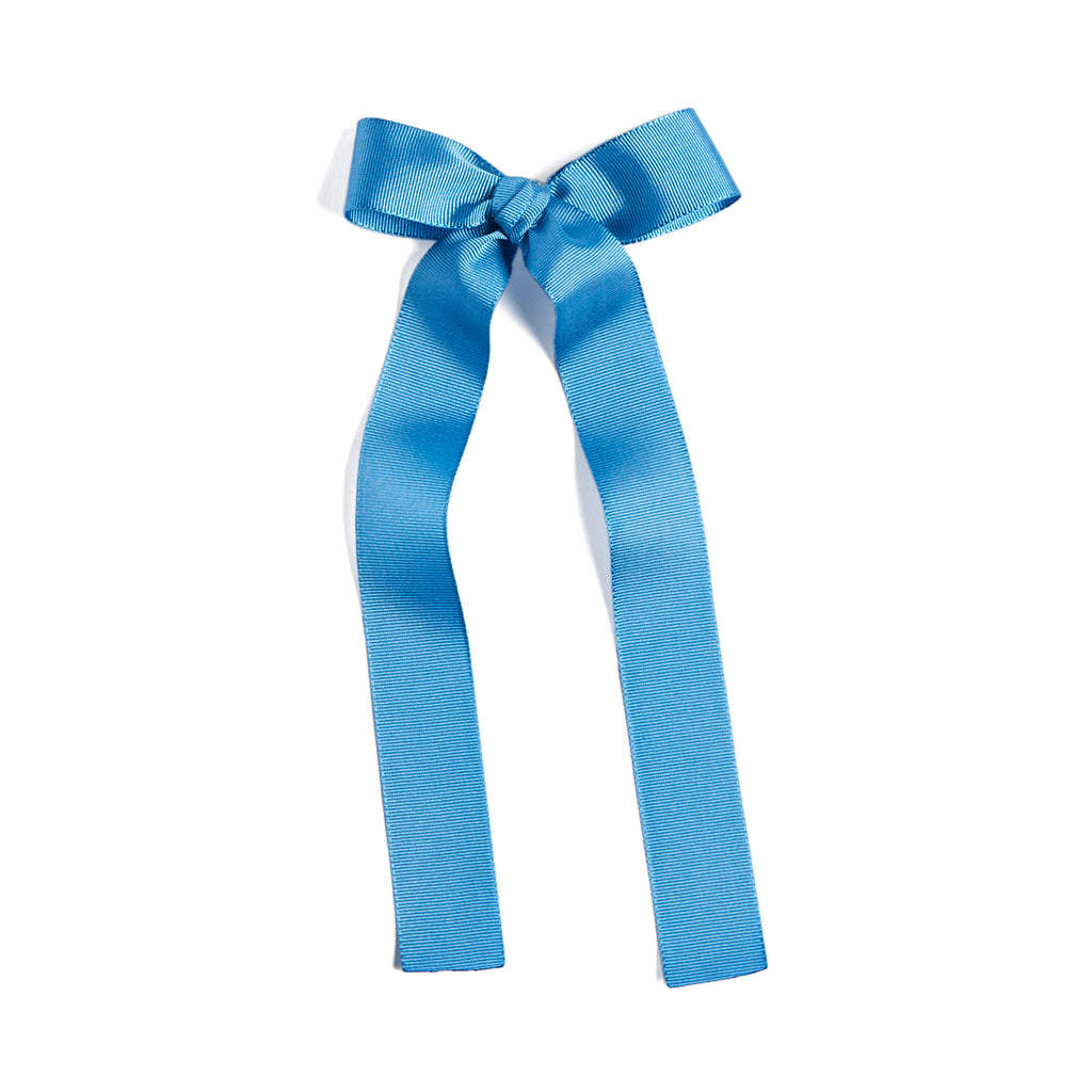 Blue Silky Long Bow Clip - Hair Accessories - PEPA AND CO