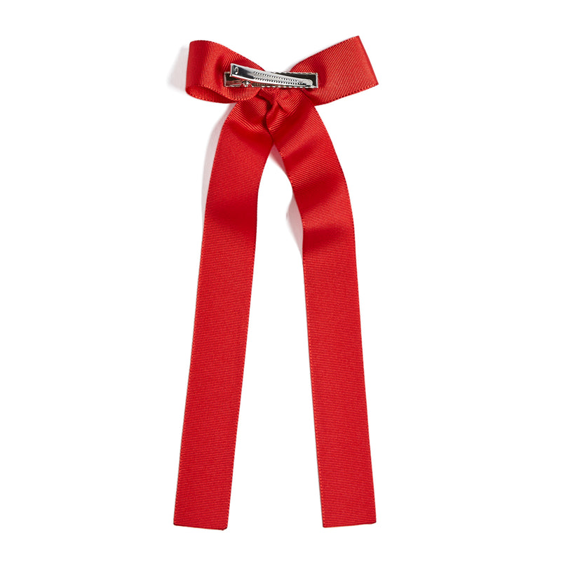 Red Silky Long Bow Clip - Hair Accessories - PEPA AND CO