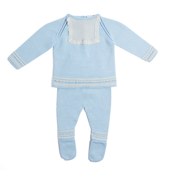 Delicate Blue Knitted Cotton Set with Lace Detail - Knitwear - PEPA AND CO
