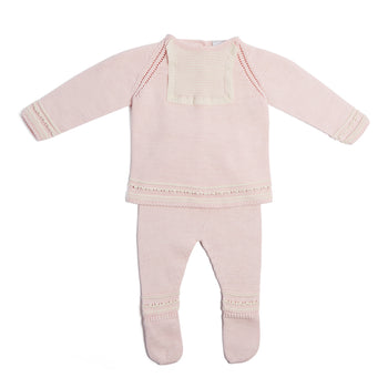 Delicate Pink Knitted Cotton Set with Lace Detail - Knitwear - PEPA AND CO