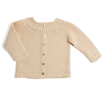 Delicate Beige Knitted Baby Cardigan - Knitwear - PEPA AND CO