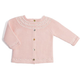 Delicate Pink Knitted Baby Cardigan - KNITWEAR - PEPA AND CO