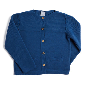 Classic Blue Knitted Cardigan - Knitwear - PEPA AND CO