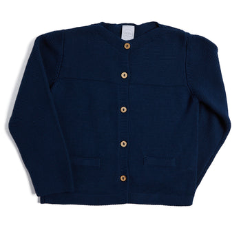 Classic Navy Knitted Cardigan - KNITWEAR - PEPA AND CO