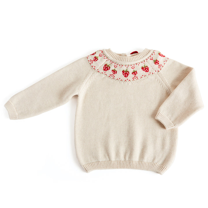 Strawberry Motif Knitted Jumper - Knitwear - PEPA AND CO