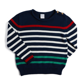 Navy Striped Knitted Jumper - Knitwear - PEPA AND CO