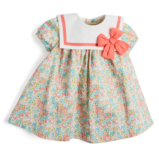 Baby Girl's Floral Dress with Coral Bow - Dress - PEPA AND CO