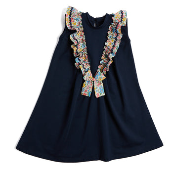 Navy Jersey Dress with Liberty Floral Detailing - Dress - PEPA AND CO