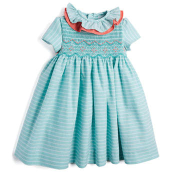 Green Striped Handsmocked Dress - Dress - PEPA AND CO